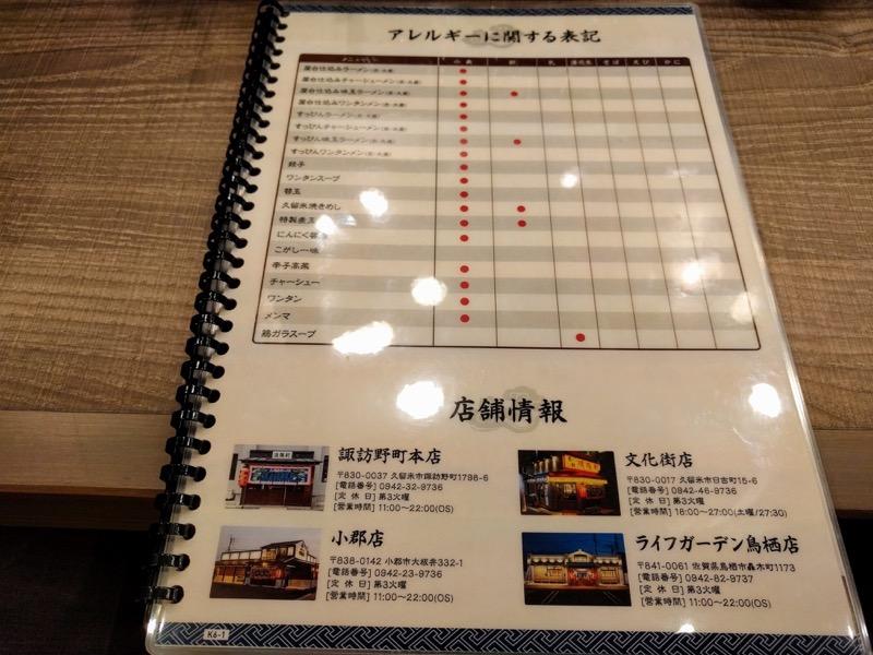 清陽軒イオンモール熊本店 11メニューアレルギー表